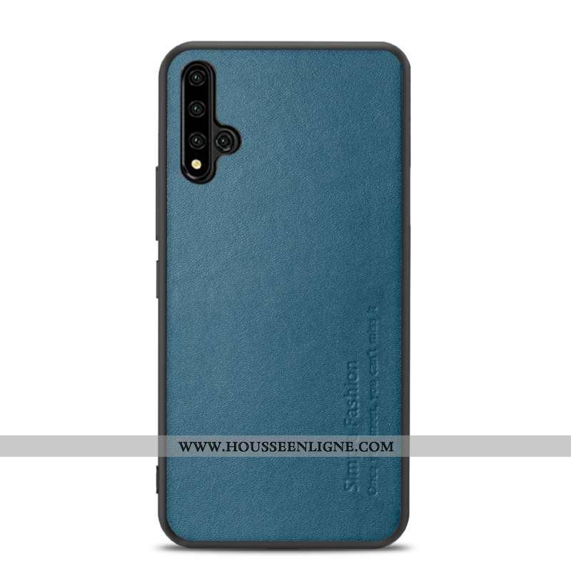 Étui Honor 20 Cuir Fluide Doux Business Téléphone Portable Légère Protection Véritable Bleu Foncé