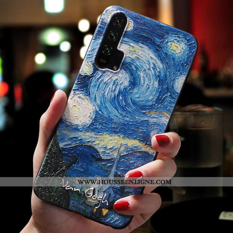 Étui Honor 20 Pro Délavé En Daim Personnalité Bleu Fluide Doux Téléphone Portable Légère Ultra