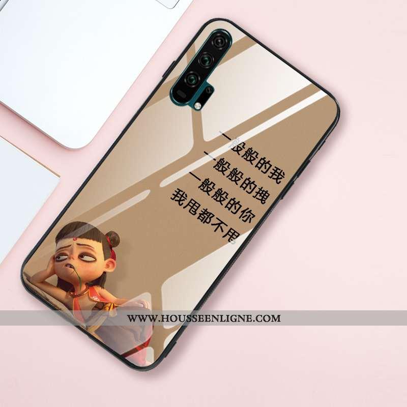 Étui Honor 20 Pro Fluide Doux Silicone Créatif Verre Miroir Style Chinois Téléphone Portable Khaki