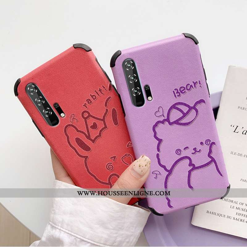 Étui Honor 20 Pro Fluide Doux Silicone Tout Compris Ours Téléphone Portable Cuir Tendance Violet