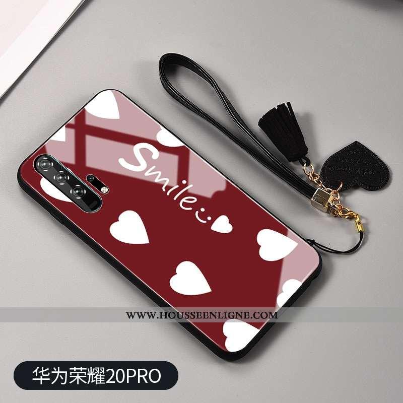 Étui Honor 20 Pro Protection Verre Blanc Net Rouge Mode Téléphone Portable Rouge