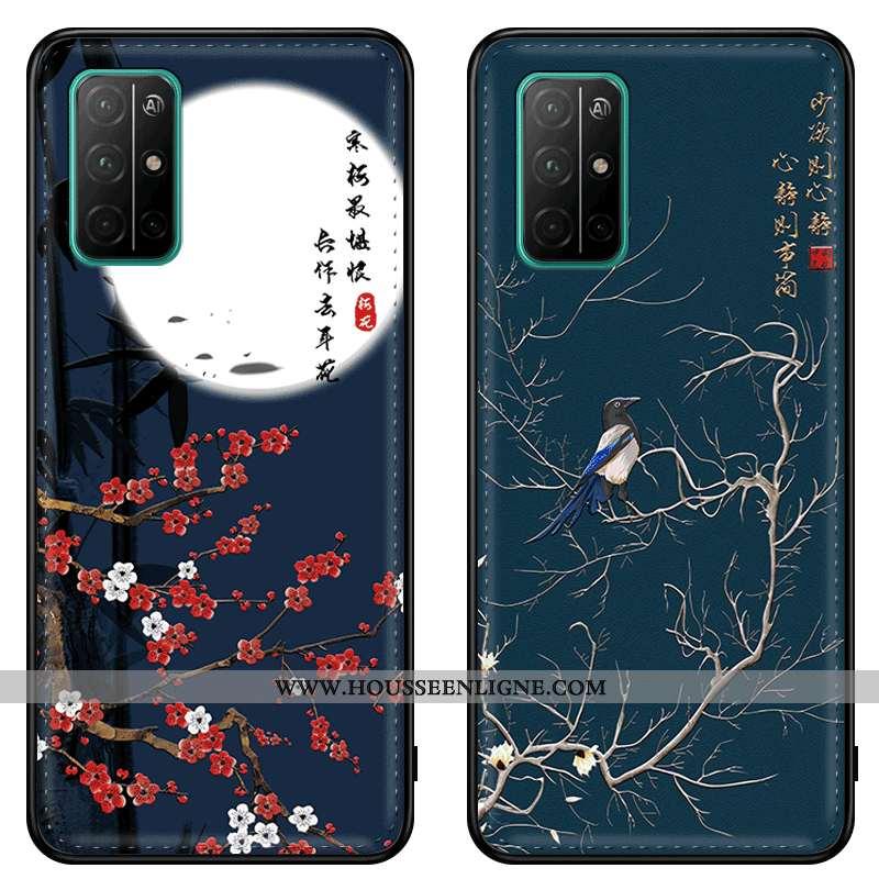 Étui Honor 30s Cuir Modèle Fleurie Style Chinois Coque Téléphone Portable Gaufrage Bleu Marin Bleu F