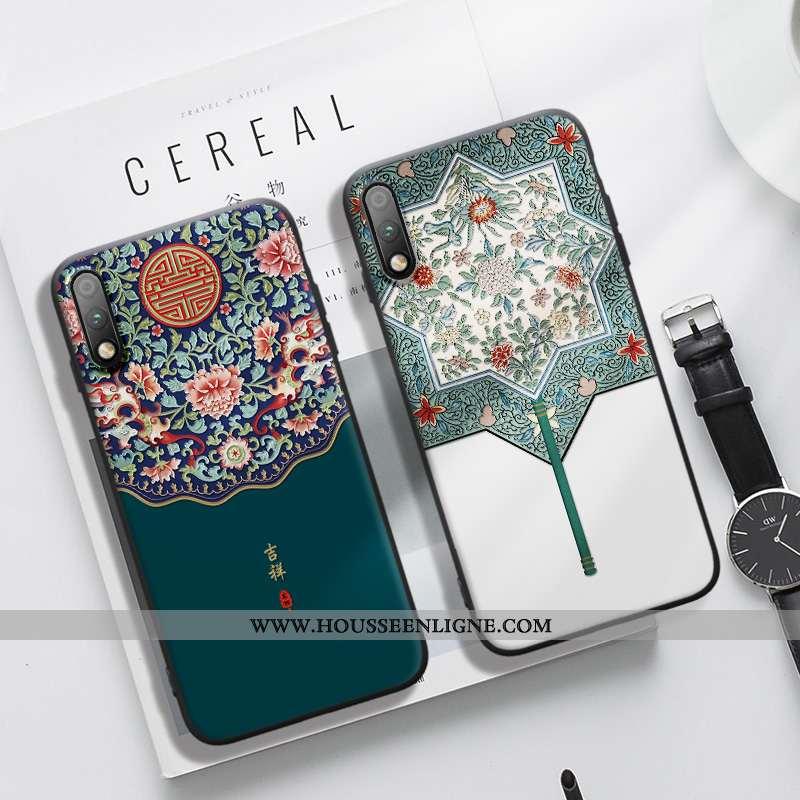 Étui Honor 9x Ornements Suspendus Gaufrage Incassable Protection Vent Style Chinois Bordure Bleu Fon