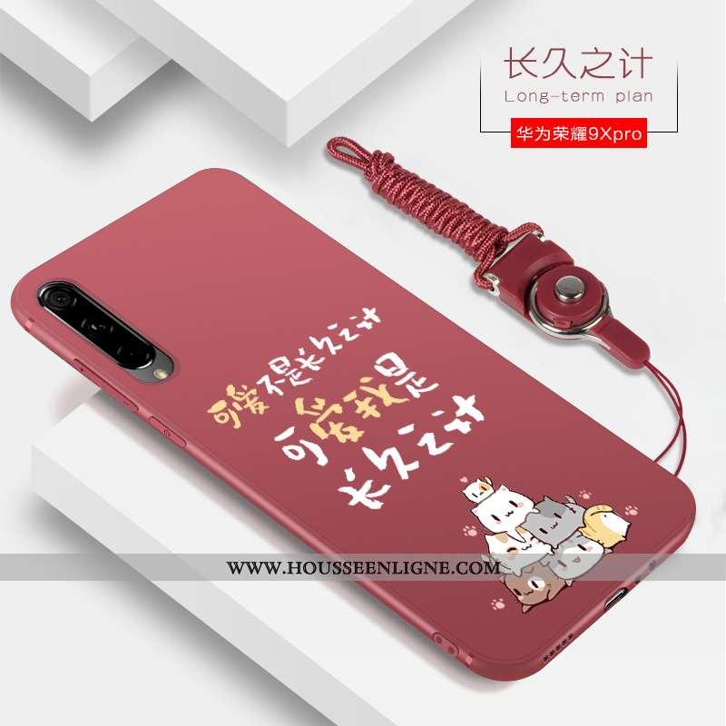 Étui Honor 9x Pro Tendance Silicone Coque Net Rouge Téléphone Portable Tout Compris Incassable