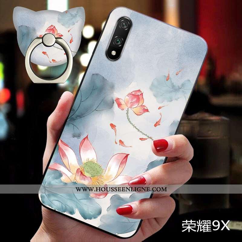 Étui Honor 9x Tendance Légère Téléphone Portable Fluide Doux Fleur Coque Bleu