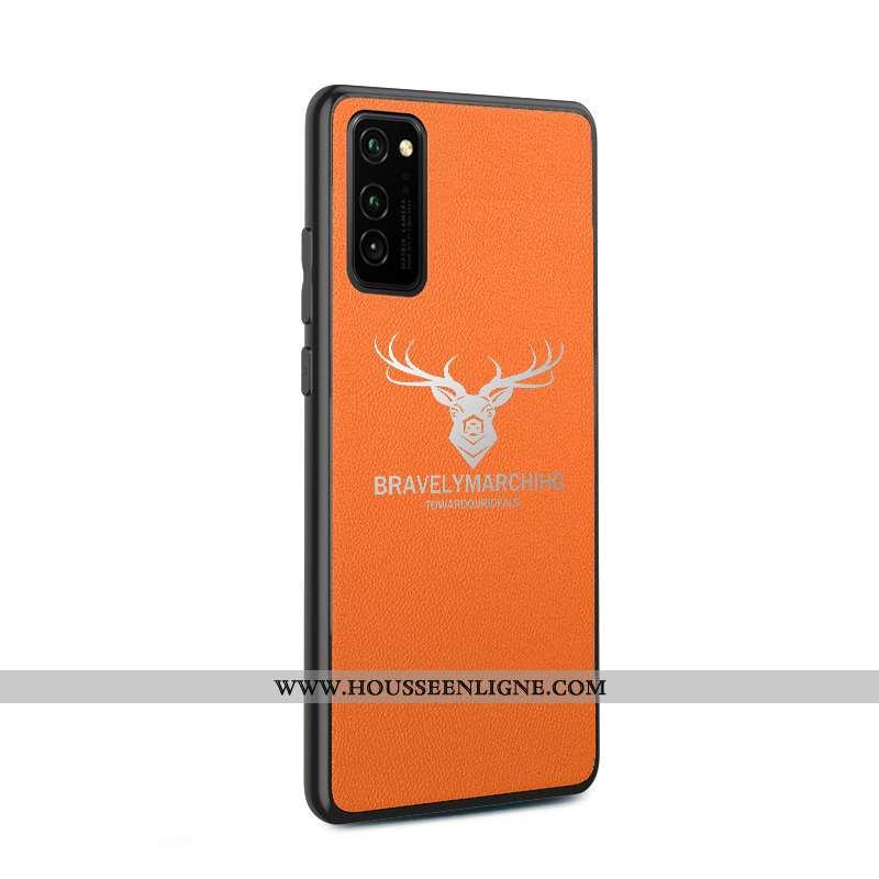 Étui Honor View30 Fluide Doux Silicone Incassable Cuir Cerf Orange Téléphone Portable