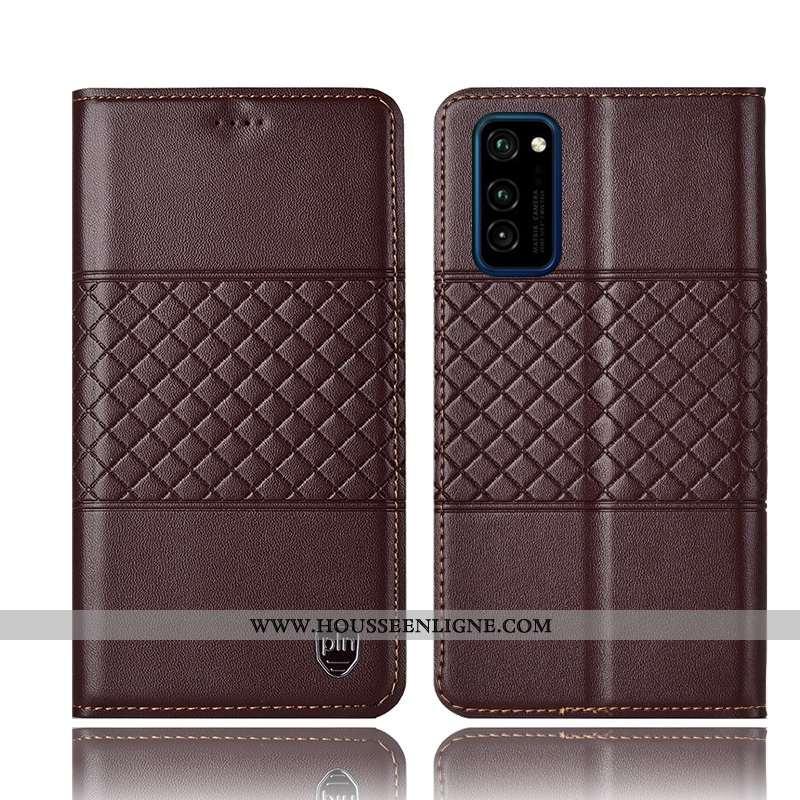Étui Honor View30 Pro Cuir Véritable Protection Tout Compris Housse Téléphone Portable Coque Marron