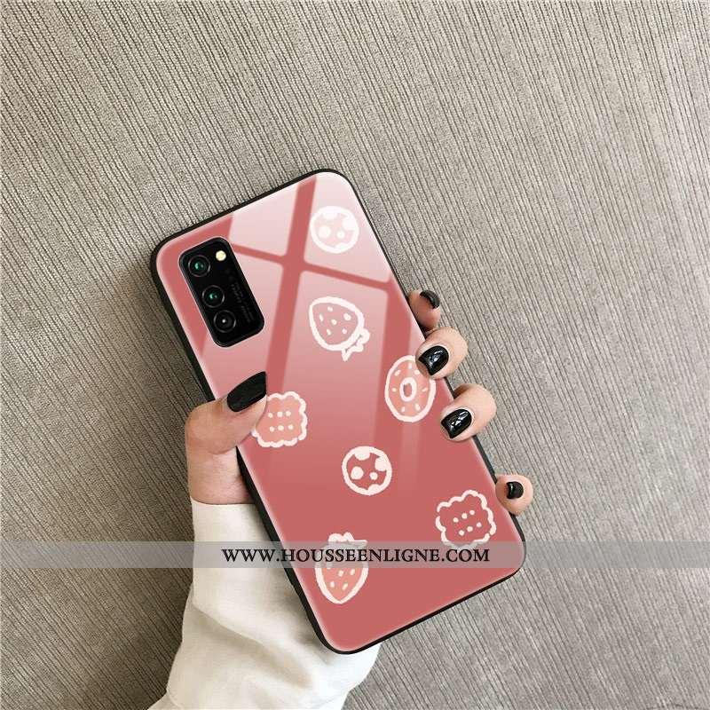 Étui Honor View30 Pro Protection Verre Rouge Fraise Téléphone Portable Net Rouge