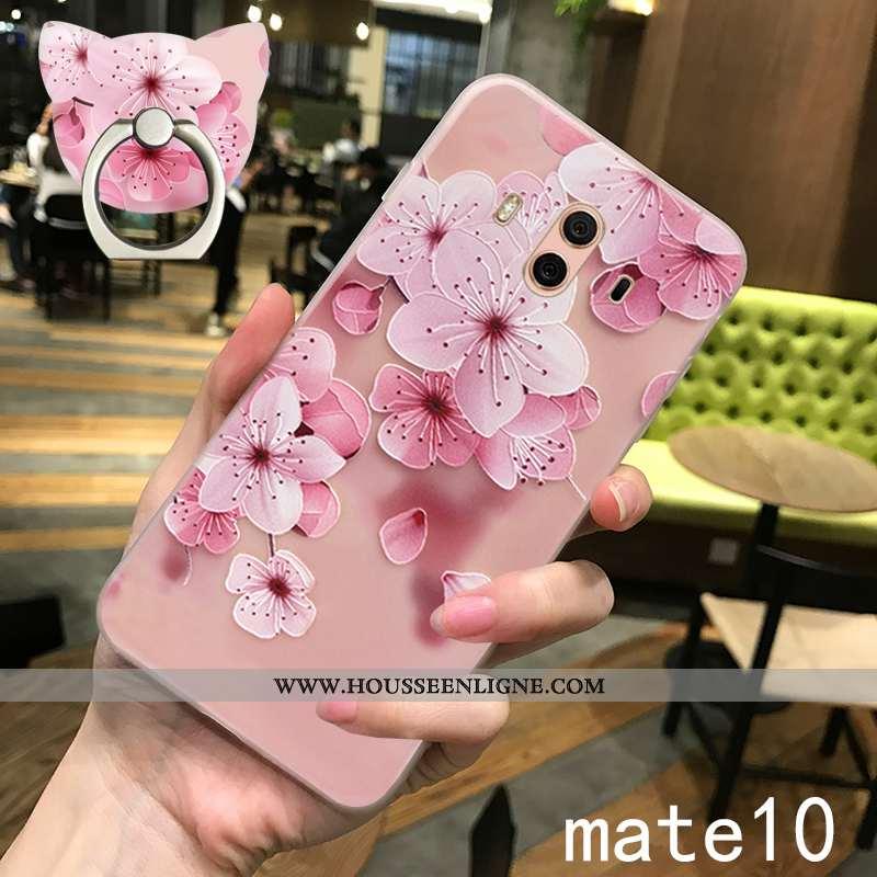 Étui Huawei Mate 10 Légère Silicone Incassable Vent Ultra Téléphone Portable Délavé En Daim Rose