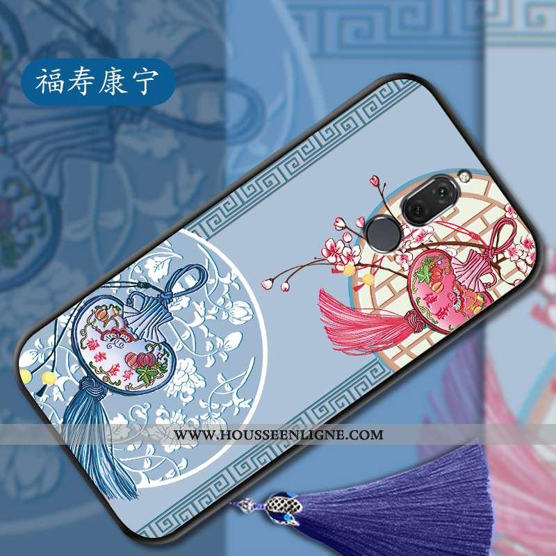 Étui Huawei Mate 10 Lite Gaufrage Vintage Légère Fluide Doux Style Chinois Protection Bleu