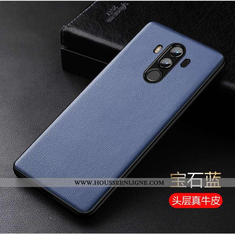 Étui Huawei Mate 10 Pro Légère Silicone Cuir Véritable Luxe Ultra Protection Bleu