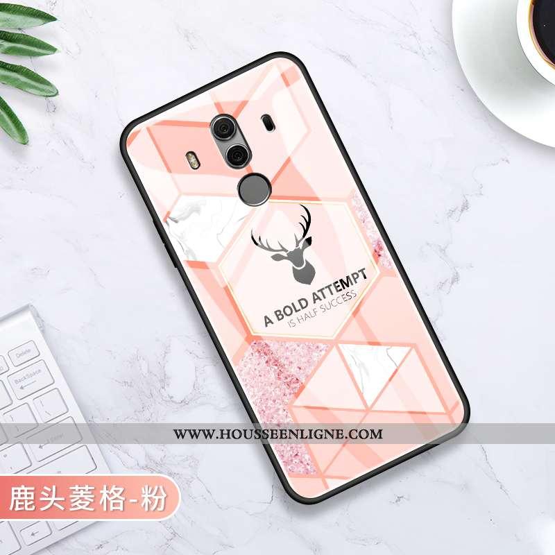 Étui Huawei Mate 10 Pro Verre Personnalité Protection Rose Incassable Silicone Net Rouge