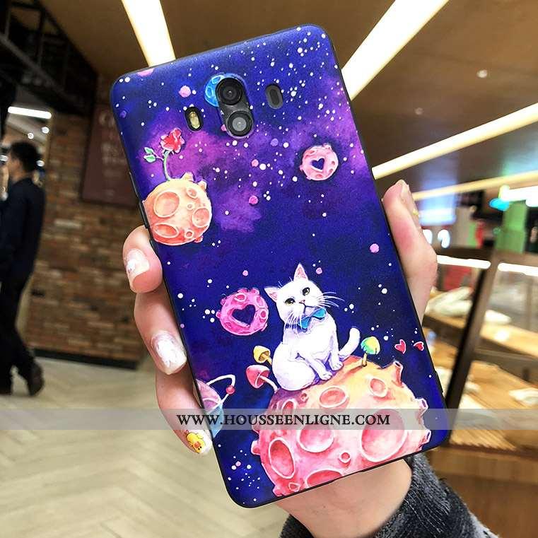 Étui Huawei Mate 10 Silicone Protection Gaufrage Incassable Tout Compris Coque Net Rouge Violet