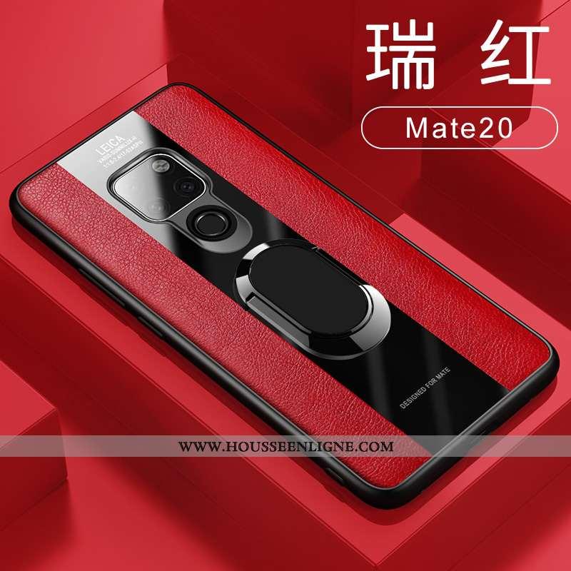 Étui Huawei Mate 20 Cuir Silicone Coque Incassable Rouge À Bord Téléphone Portable