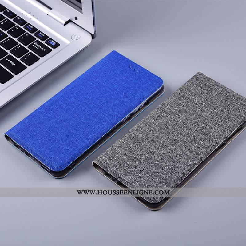 Étui Huawei Mate 20 Lite Cuir Silicone Housse Coque Protection Lin Bleu