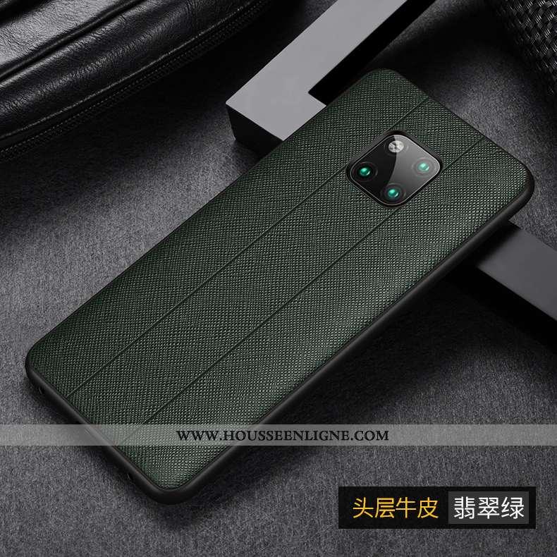Étui Huawei Mate 20 Pro Cuir Véritable Protection Tempérer Vert Luxe Membrane Coque Verte