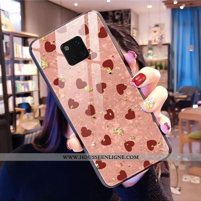Étui Huawei Mate 20 Pro Mode Verre Coque Rose Téléphone Portable