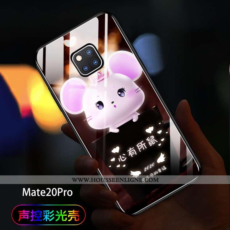 Étui Huawei Mate 20 Pro Tendance Verre Amoureux Téléphone Portable Net Rouge Coque Noir