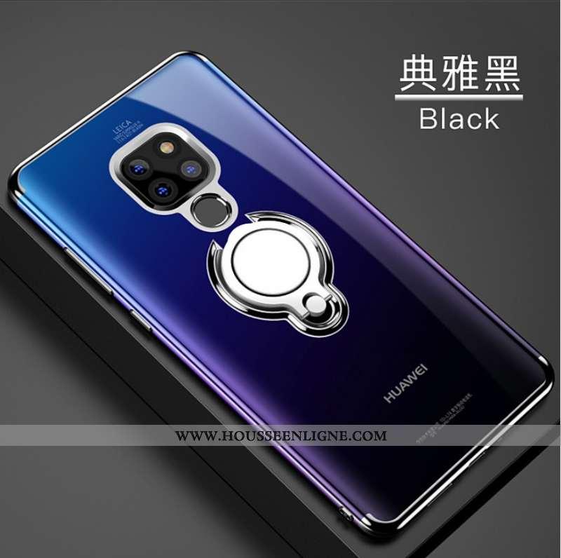 Étui Huawei Mate 20 Silicone Protection Support Noir Anneau Fluide Doux