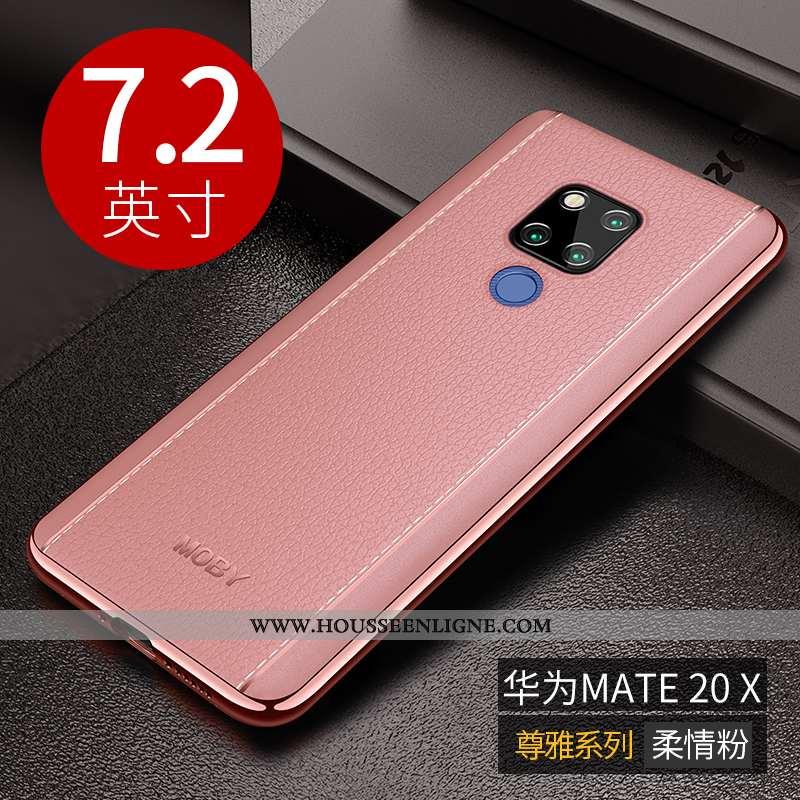 Étui Huawei Mate 20 X Fluide Doux Protection Luxe Téléphone Portable Nouveau Rose