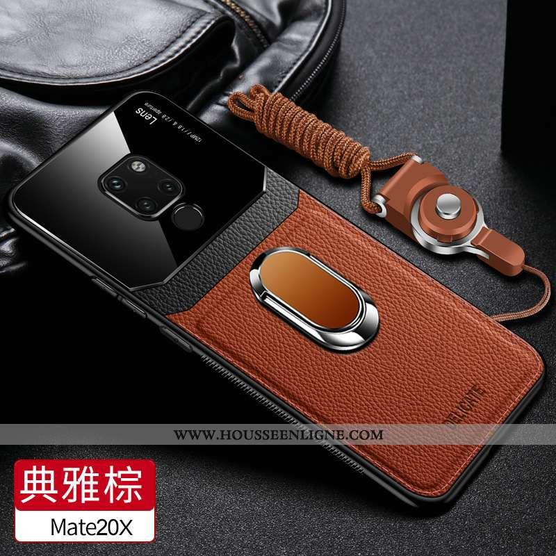 Étui Huawei Mate 20 X Tendance Cuir Protection Silicone Téléphone Portable Délavé En Daim Coque Marr