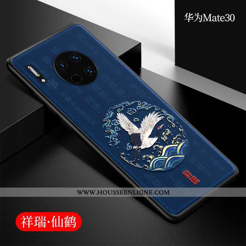Étui Huawei Mate 30 Cuir Silicone Coque Style Chinois Incassable Net Rouge Téléphone Portable Bleu