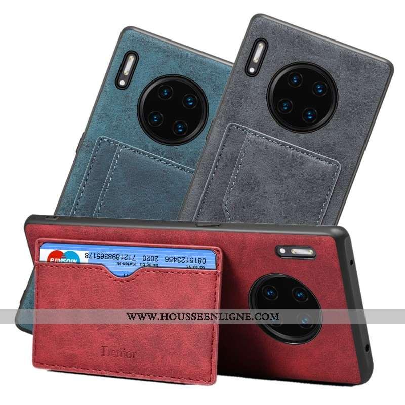Étui Huawei Mate 30 Fluide Doux Protection Carte Coque Support Tout Compris Incassable Rouge