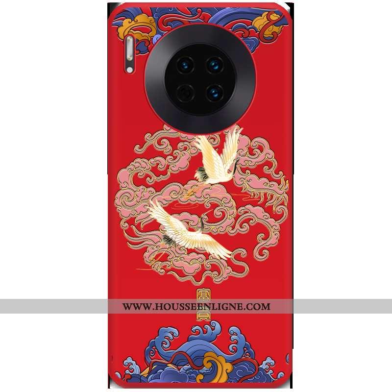 Étui Huawei Mate 30 Gaufrage Tendance Téléphone Portable Coque Rouge Tout Compris