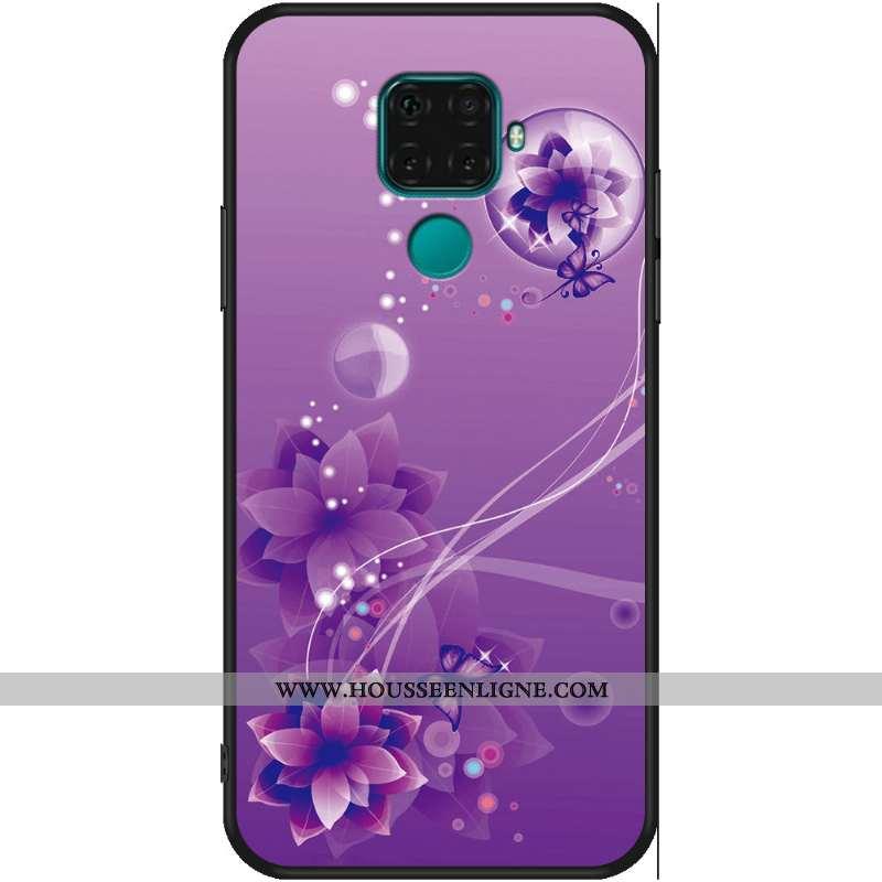 Étui Huawei Mate 30 Lite Délavé En Daim Dessin Animé Violet Incassable Simple Silicone Fluide Doux