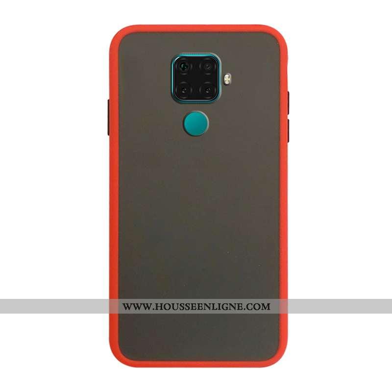 Étui Huawei Mate 30 Lite Délavé En Daim Tendance Transparent Coque Rouge Protection