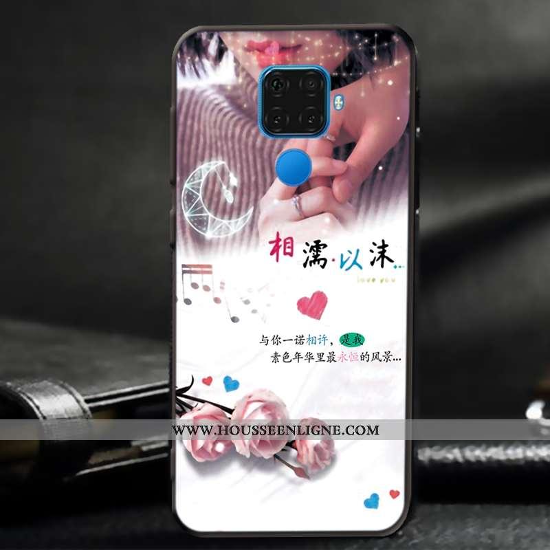 Étui Huawei Mate 30 Lite Fluide Doux Silicone Délavé En Daim Coque Amoureux Téléphone Portable Blanc