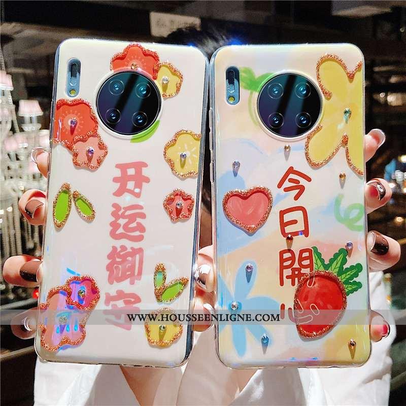 Étui Huawei Mate 30 Pro Fluide Doux Silicone Incassable Téléphone Portable Personnalité Cœur Rose