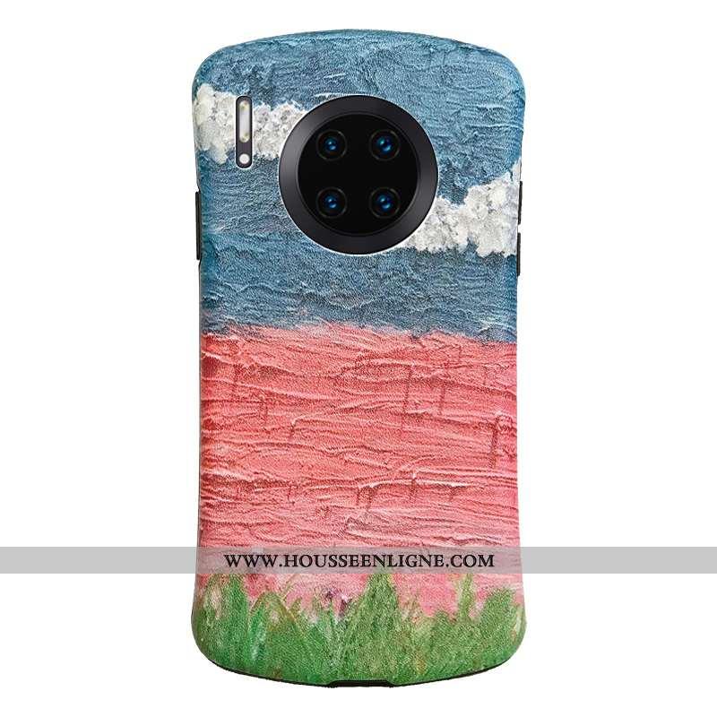 Étui Huawei Mate 30 Pro Personnalité Gaufrage Fleurs Modèle Fleurie Coque En Silicone Vent Téléphone
