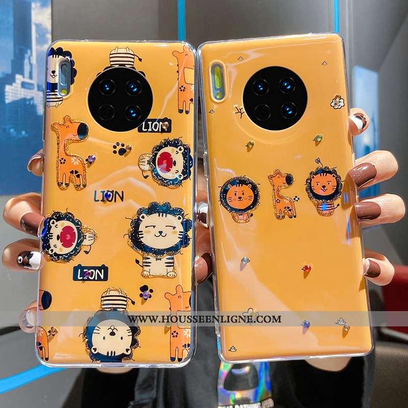 Étui Huawei Mate 30 Pro Protection Dessin Animé Coque Jaune Vent Net Rouge Incassable