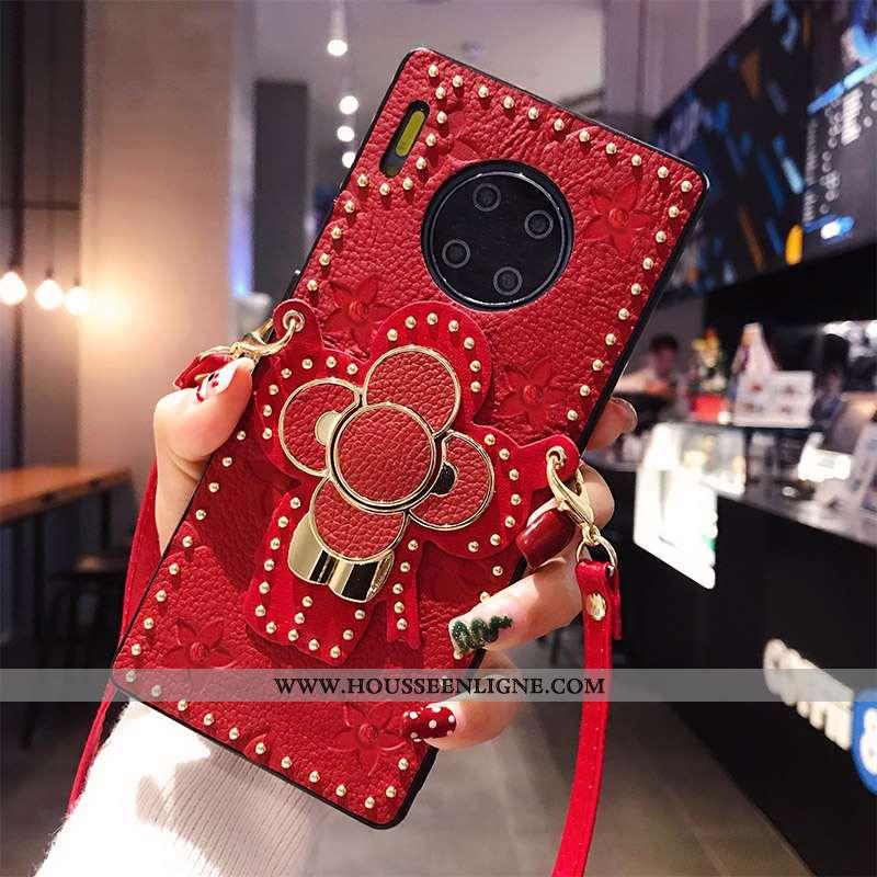 Étui Huawei Mate 30 Pro Protection Ornements Suspendus Rouge Tendance Support Téléphone Portable Tou