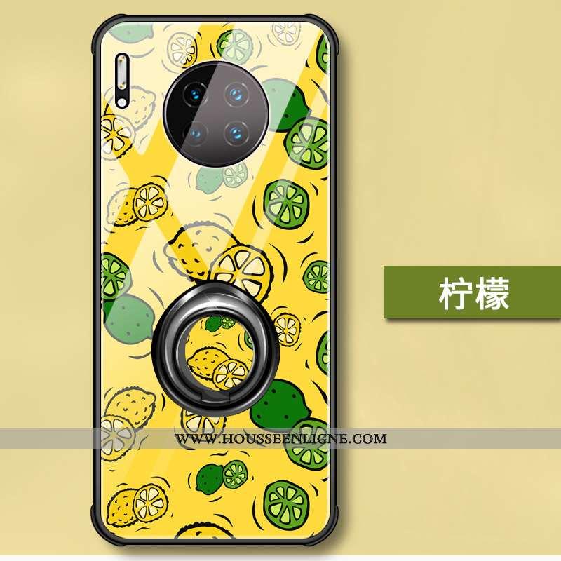 Étui Huawei Mate 30 Pro Silicone Verre Coque Support Dessin Animé Téléphone Portable Jaune