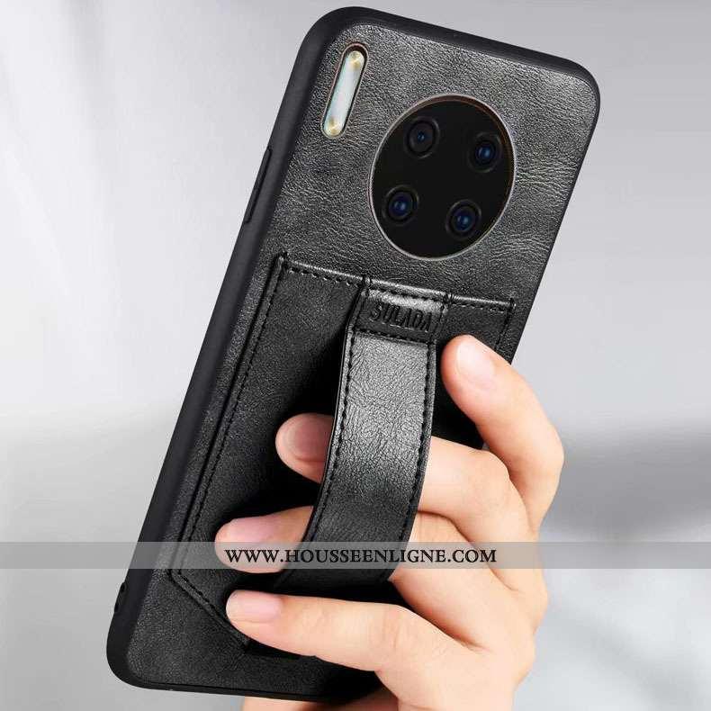 Étui Huawei Mate 30 Protection Cuir Anneau Noir Coque Téléphone Portable Support