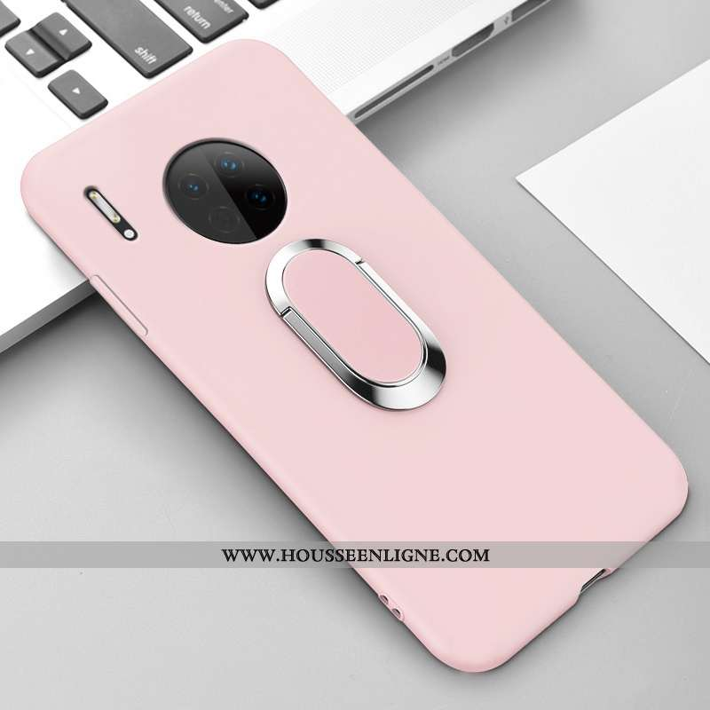 Étui Huawei Mate 30 Protection Silicone Couleur Unie Simple Incassable Magnétisme Coque Rose