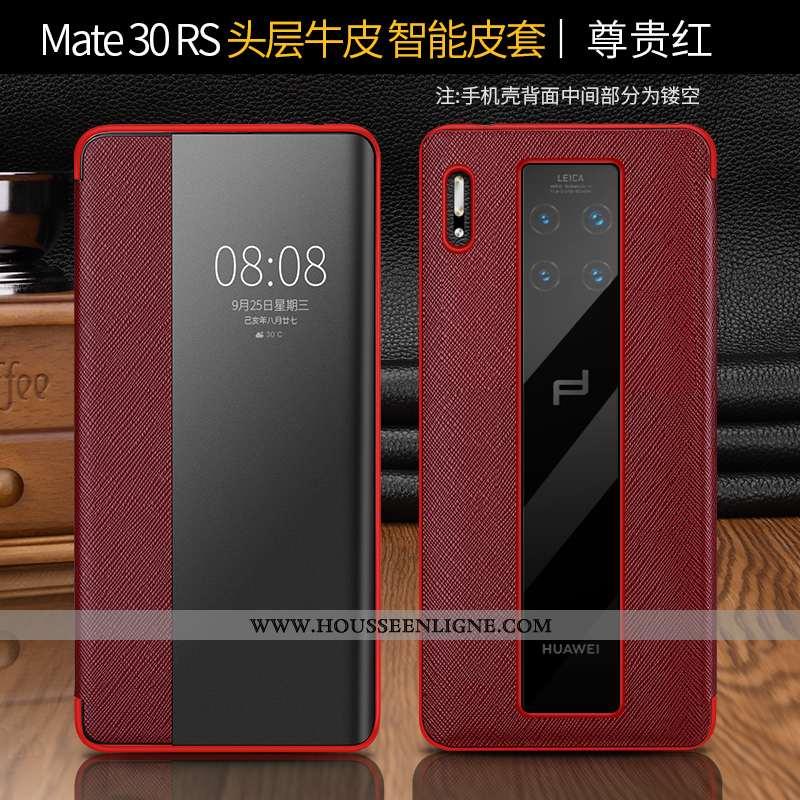 Étui Huawei Mate 30 Rs Cuir Protection Téléphone Portable Housse Rouge Véritable Coque