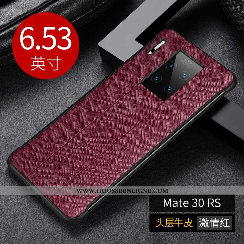Étui Huawei Mate 30 Rs Protection Créatif Cuir Luxe Cuir Véritable Coque Business Bordeaux