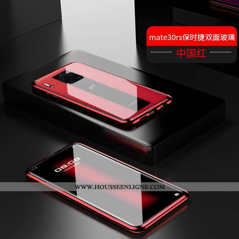 Étui Huawei Mate 30 Rs Verre Transparent Métal Coque Reversible Luxe Rouge