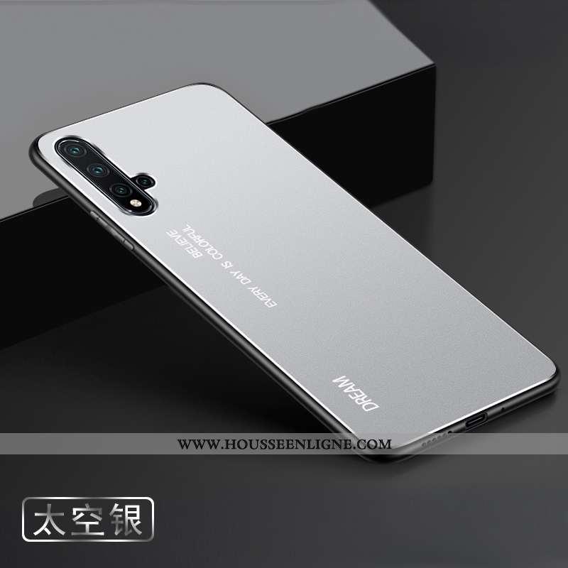 Étui Huawei Nova 5t Délavé En Daim Métal Argent Coque Téléphone Portable