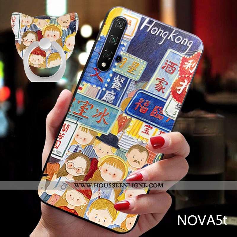Étui Huawei Nova 5t Dessin Animé Charmant Tendance Luxe Bleu Téléphone Portable