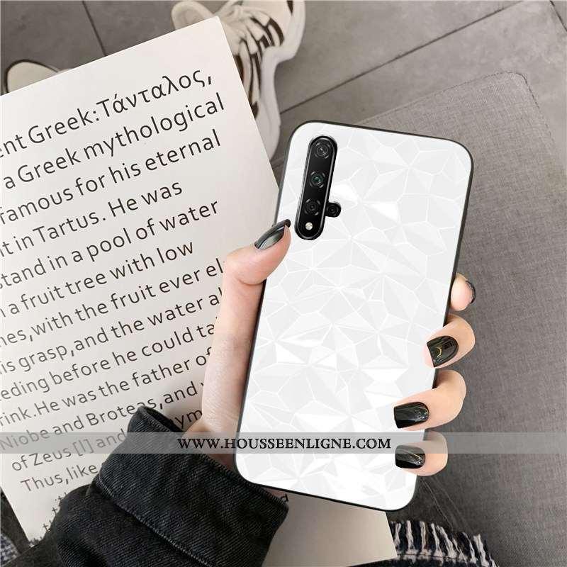 Étui Huawei Nova 5t Fluide Doux Losange Téléphone Portable Blanc Simple Net Rouge Coque Blanche