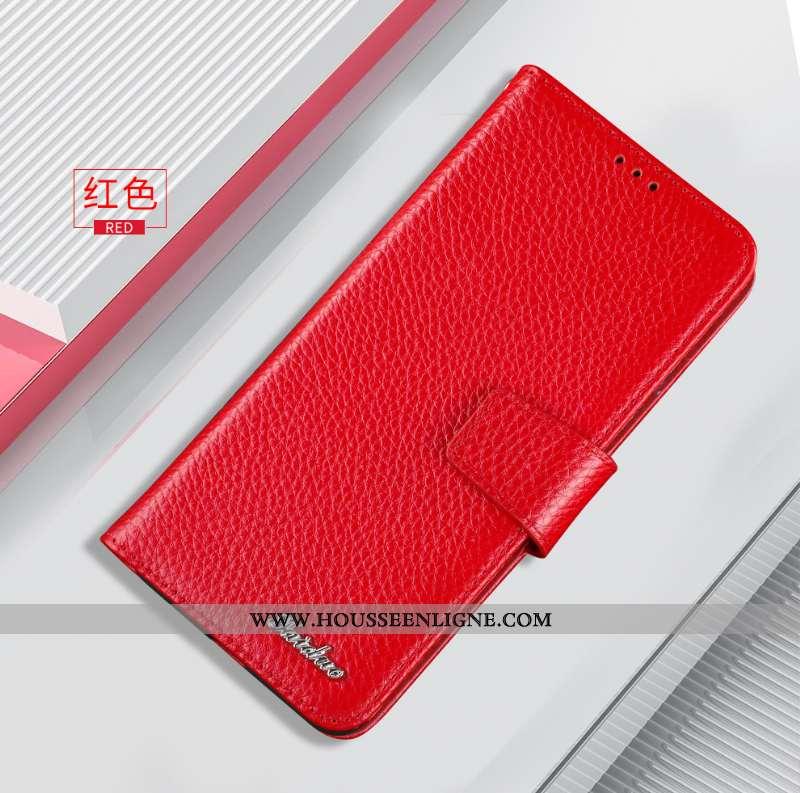 Étui Huawei Nova 5t Protection Cuir Véritable Tout Compris Housse Carte Coque Rouge