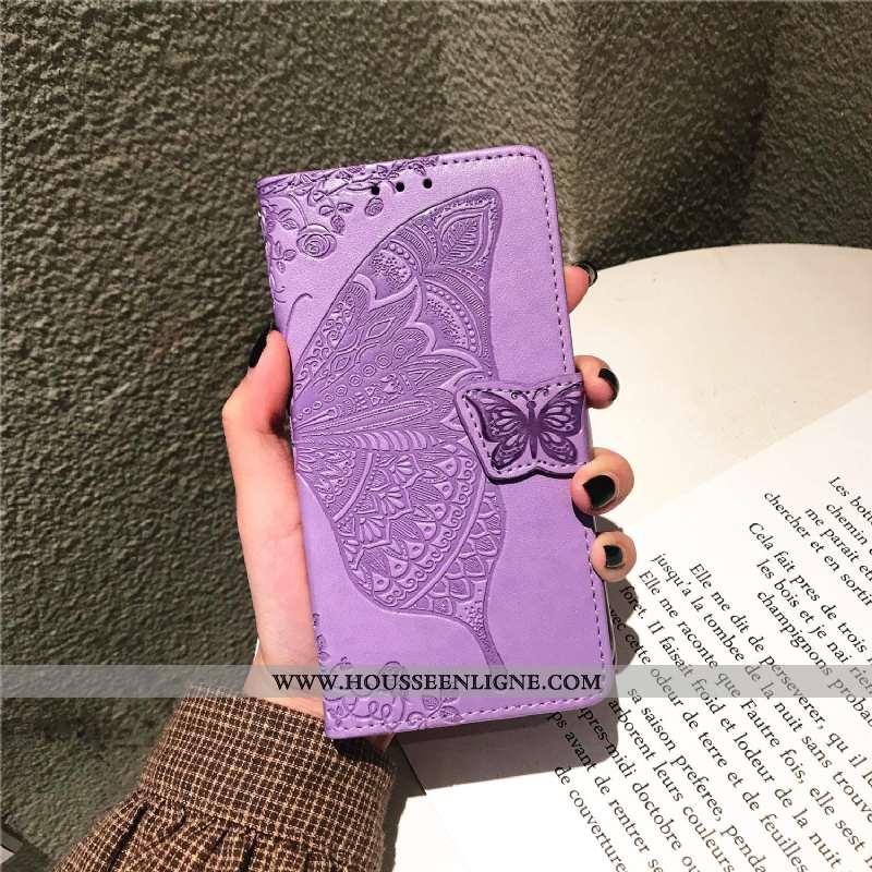 Étui Huawei P Smart+ 2020 Cuir Protection Clamshell Téléphone Portable Carte Coque Violet