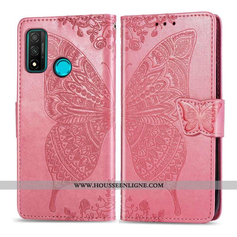 Étui Huawei P Smart 2020 Gaufrage Charmant Papillon Téléphone Portable Rouge Coque Housse Rose