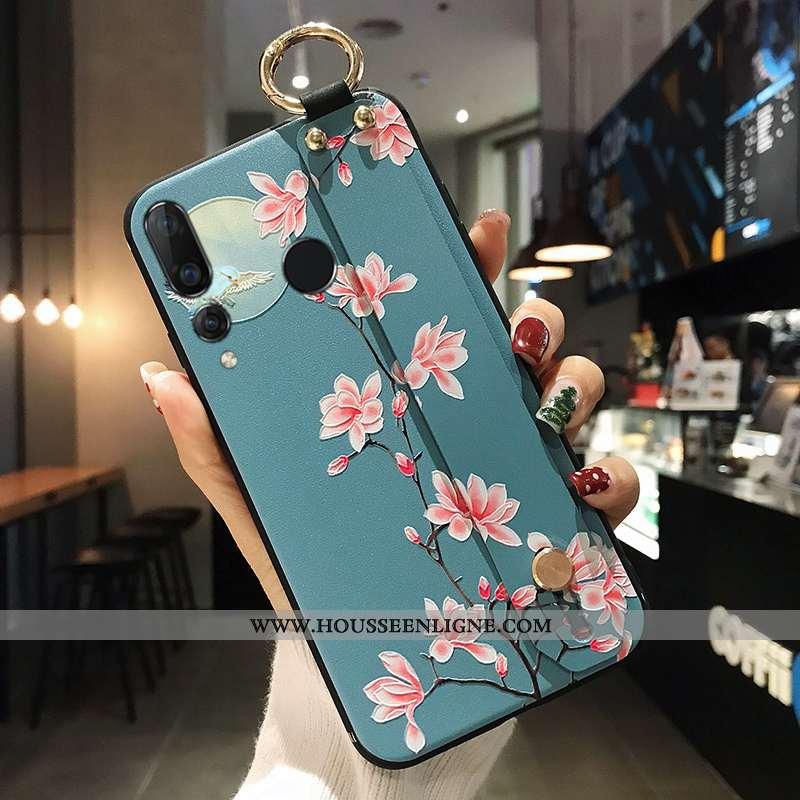 Étui Huawei P Smart+ 2020 Protection Bleu Téléphone Portable Coque Tout Compris Fleur