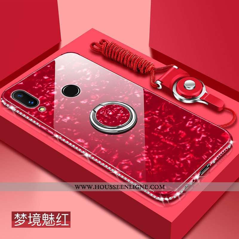 Étui Huawei P Smart 2020 Protection Verre Coque Difficile Téléphone Portable Pu Bordeaux