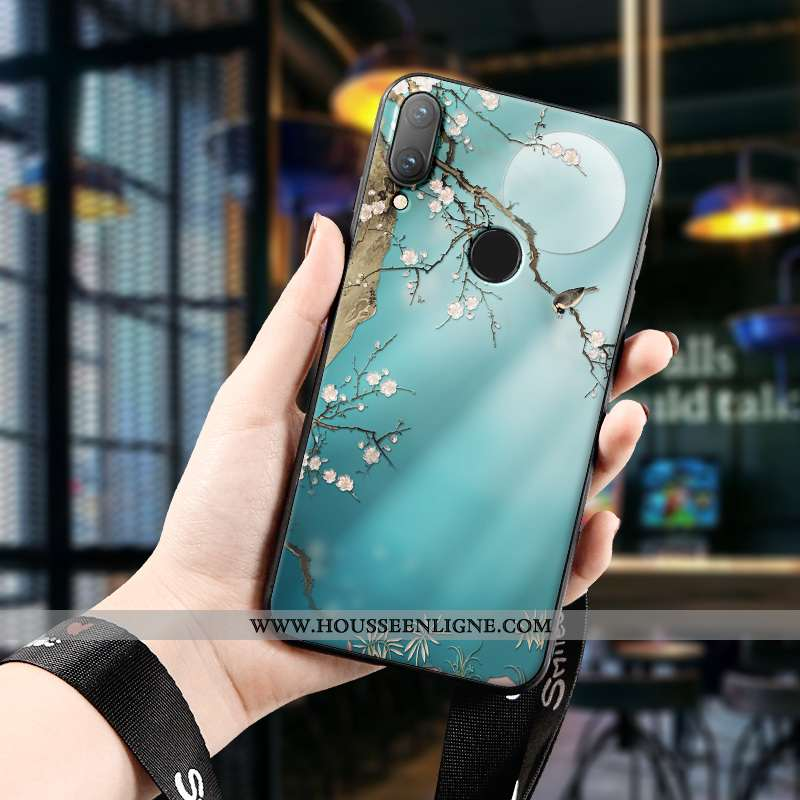 Étui Huawei P Smart 2020 Silicone Protection Gaufrage Marque Style Chinois Nouveau Tout Compris Bleu